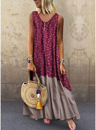 Print/Floral Sleeveless Shift Maxi Casual/Vacation Dresses