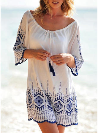 Dot Round Neck Elegant Fashionable Beautiful Cover-ups Swimsuits