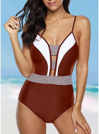 Stripe Strap Sexy Plus Size One-piece Swimsuits