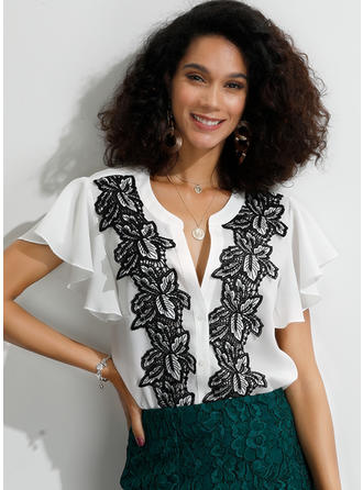 Floral Lace V Neck Short Sleeves Button Up Casual Elegant Shirt Blouses