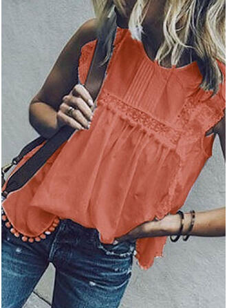 Solid Lace Round Neck Sleeveless Casual Elegant Tank Tops