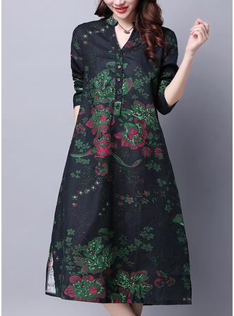 Wydrukować Kwiatowy Litera V Kolano Długość Sukienkę przesunąć