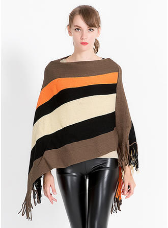 Striped/Tassel Oversized/fashion/simple Cashmere Poncho