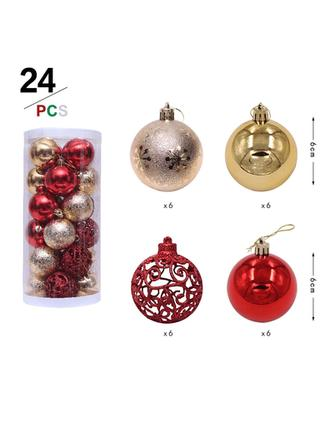 """vrolijk kerstfeest 24 PCS 2.36"""" PVC Kerstdecoratie Bal (Set van 24)"""