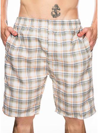 Pour des hommes Grille Inmprimé Shorts de bain Maillot de bain