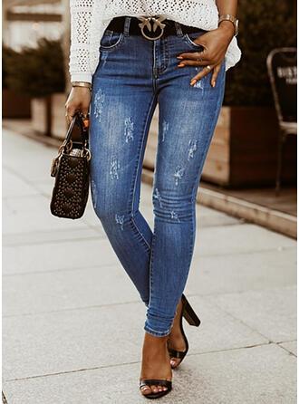Solid Denim Long Elegant Plus Size Pocket Ripped Denim & Jeans