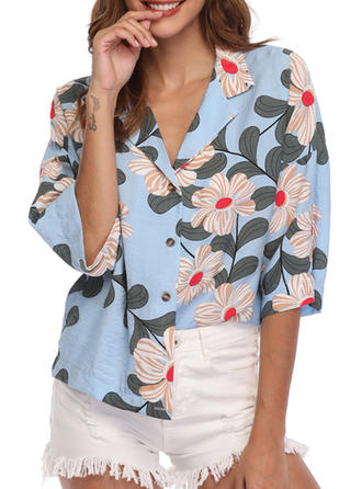 Floral Lapel 1/2 Sleeves Button Up Casual Blouses