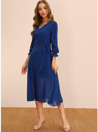 Solid 3/4 Sleeves A-line Midi Casual/Elegant Dresses