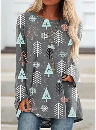 Nyomtatás Kulatý Výstřih Dlouhé rukávy Vánoční mikina