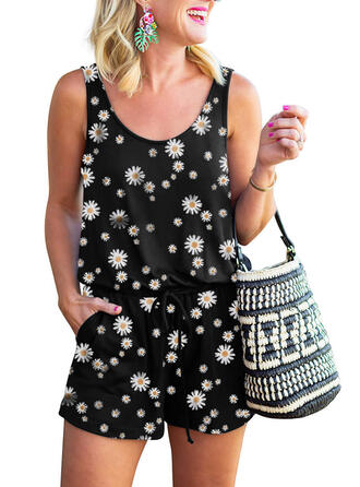 Floral Print Round Neck Sleeveless Casual Romper