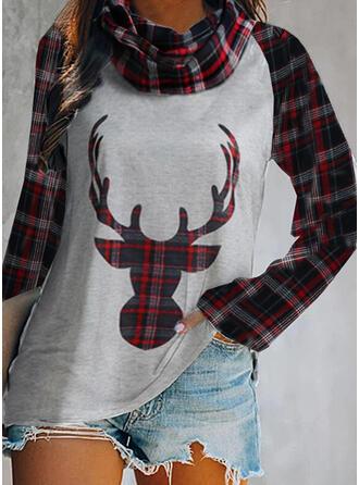 Animal Print High Neck Long Sleeves Christmas Blouses