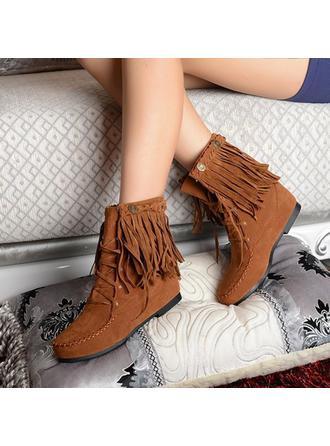 Femmes PU Talon compensé Bout fermé Compensée Bottes avec Tassel chaussures