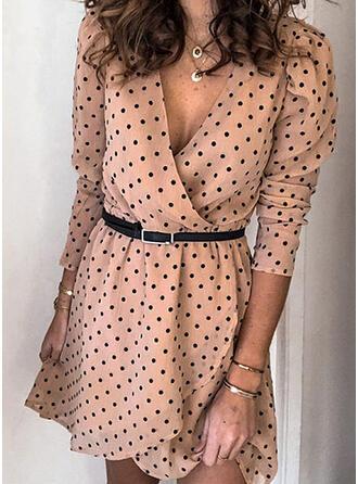 PolkaDot Long Sleeves/Puff Sleeves A-line Asymmetrical Casual Dresses