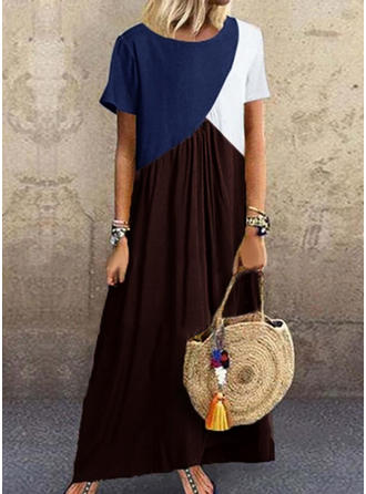 Color-block Short Sleeves Shift Maxi Casual Dresses