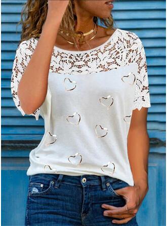 Print Lace Heart Round Neck Short Sleeves Elegant Blouses