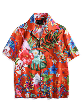 Men's Leaves Hawaiian Quick Dry Beach Shirts