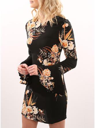 Print Floral Round Neck Above Knee Sheath Dress