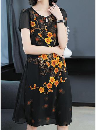 Print Floral V-neck Knee Length Shift Dress