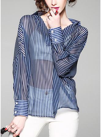Szyfon Litera V Jednolity kolor Rękaw 3/4 Koszula Bluzki