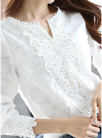 Lace Round Neck Long Sleeves Casual Elegant Blouses