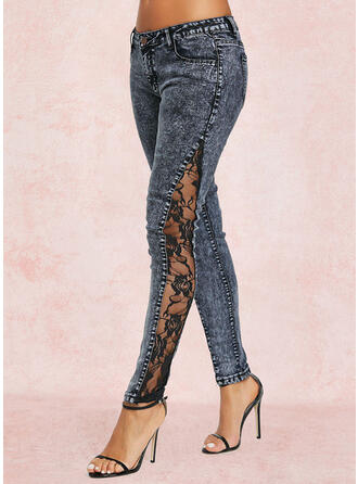 Sólido Jean Grandes Casual Costura Jeans