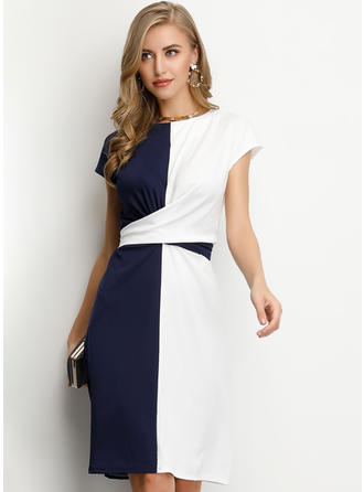 Color-block Short Sleeves A-line Knee Length Casual/Elegant Dresses