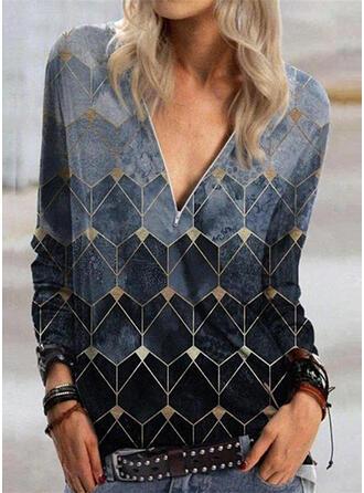 Print Geometric Print V-Neck Long Sleeves Casual Blouses (1003333417)