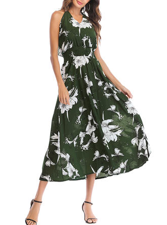 Print V-neck Midi Shift Dress