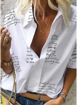 Nadruk Litera V Długie rękawy Casual Bluzki