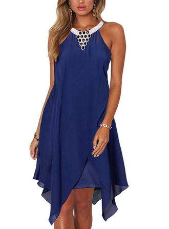 Solid Sleeveless Shift Knee Length Party Dresses