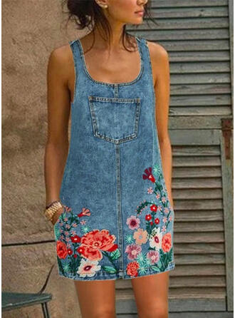 Print/Floral Sleeveless Shift Above Knee Casual/Denim Tank Dresses