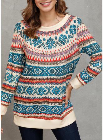 Print Round Neck Sweaters