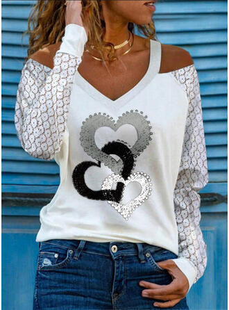 Print Lace Heart Cold Shoulder Long Sleeves Casual Blouses