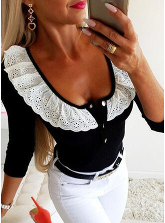 Color Block Round Neck Long Sleeves Button Up Casual Elegant Blouses