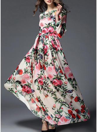 Wydrukować Kwiatowy Okrągły Dekolt Maxi Sukienka Trapezowa