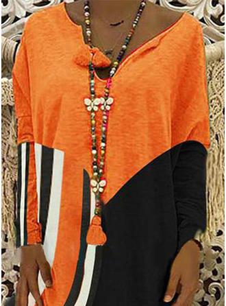 Color-block Long Sleeves Shift Knee Length Casual Dresses