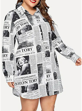 Print Long Sleeves Shift Above Knee Casual/Plus Size Dresses