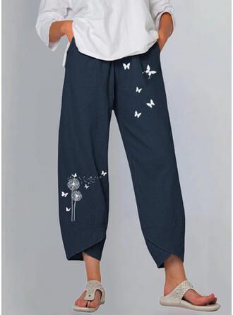 Tisk Pampeliška Motýl Plátno Bavlna Oříznuté Neformální Vinobraní Plus velikost Kalhoty Lounge kalhoty