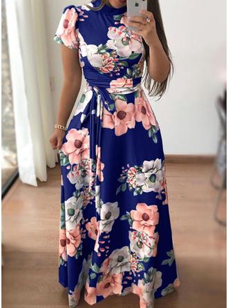 Print/Floral Short Sleeves A-line Maxi Vintage/Elegant Dresses