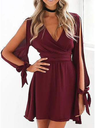 Solid Long Sleeves/Cold Shoulder Sleeve A-line Above Knee Party Dresses