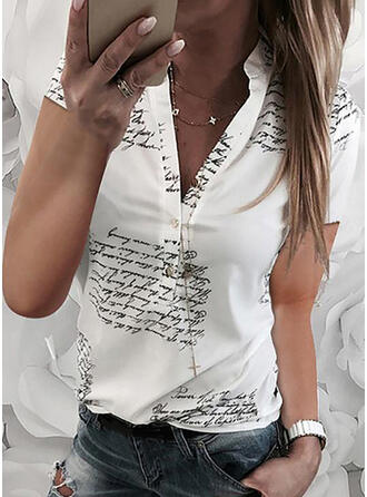 Imprimeu Decolteu în V Mâneci Scurte Cu nasturi Comodă Cămaşă Tip Bluză
