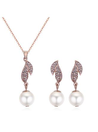Świecący Stop Cyrkonie Faux Pearl Z Stras/ Krysztal Górski Dla kobiet Zestawy biżuterii (Zestaw 2)
