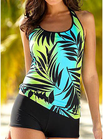 Leaves Print Strap Fresh Plus Size Tankinis Swimsuits