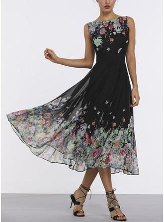 Print/Floral Sleeveless A-line Midi Vintage/Casual/Elegant/Boho Dresses