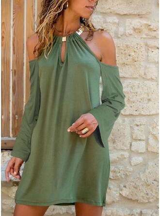 Solid Long Sleeves/Cold Shoulder Sleeve Shift Above Knee Casual Dresses