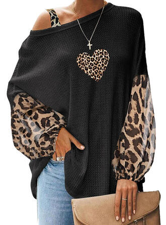 Print Leopard One-Shoulder Lantern Sleeve Long Sleeves Casual Blouses