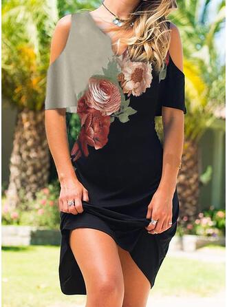 Impresión/Floral Mangas 1/2 Cubierta Sobre la Rodilla Casual Vestidos
