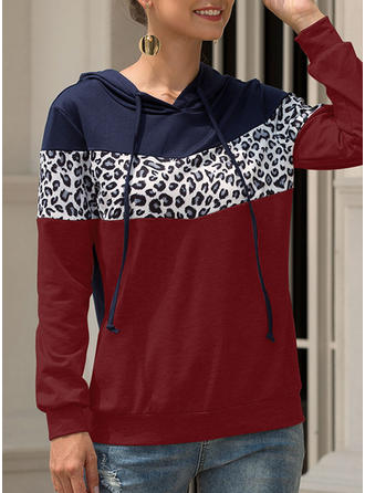 Polyester Animal Print Patchwork Sweatshirt