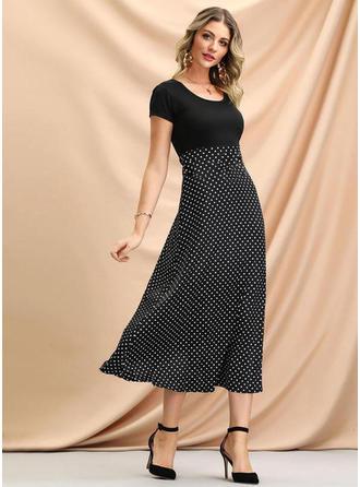 PolkaDot Short Sleeves A-line Midi Casual/Elegant Dresses