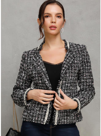 Polyester Long Sleeves Plaid Slim Fit Coats Jackets